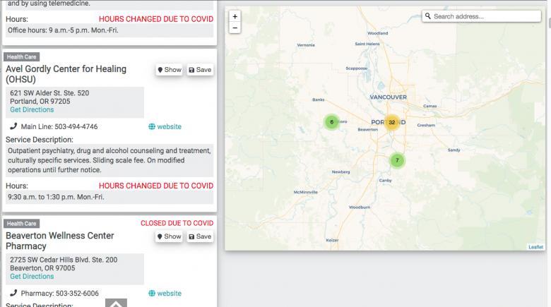 Screenshot of Rose City Resource app