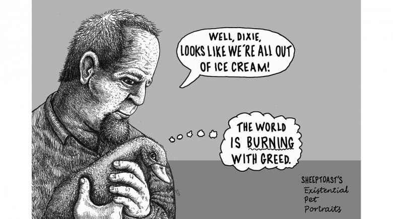 Sheeptoast editorial cartoon: Existential Pet Portraits, Dixie