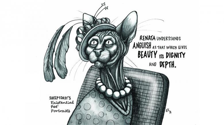 Sheeptoast editorial cartoon: Existential Pet Portraits – Renata