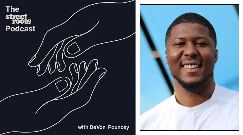 Street Roots Podcast logo and portrait of host DeVon Pouncey