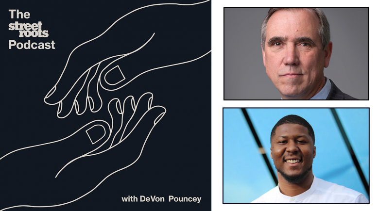 Street Roots Podcast logo with portraits of DeVon Pouncey and Sen. Jeff Merkley