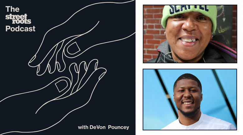 Street Roots Podcast logo with portraits of DeVon Pouncey and Nettie Johnson