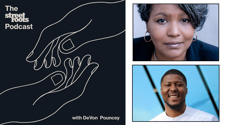 Street Roots Podcast logo with portraits of DeVon Pouncey and Teressa Raiford