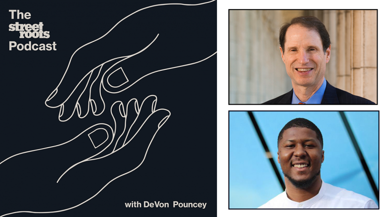 Street Roots Logo with Photos of DeVon Pouncey and Senator Ron Wyden