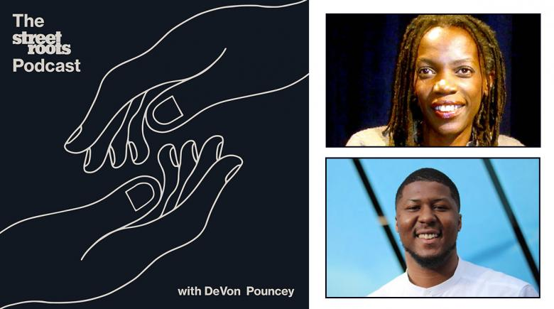 Podcast logo with portraits of JoAnn Hardesty and DeVon Pouncey