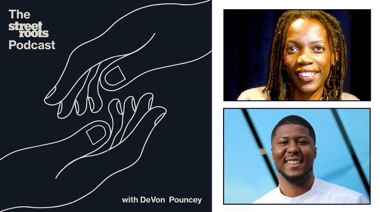 Podcast logo with portraits of JoAnn Hardesty and DeVon Pouncey