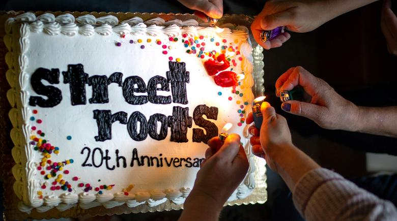 A birthday cake celebrating Street Roots' 20th anniversary