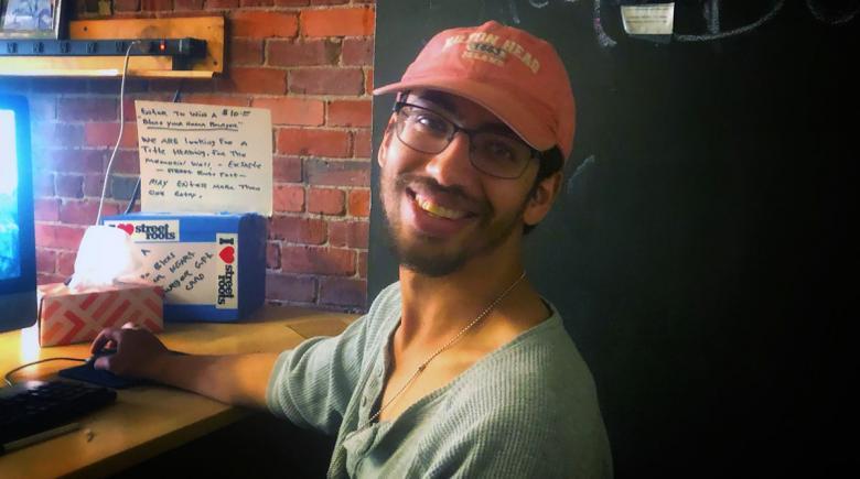 Alex Rodriquez at the Street Roots office