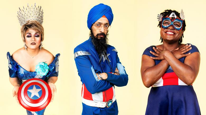 Photos of diverse people dressed as Captain America