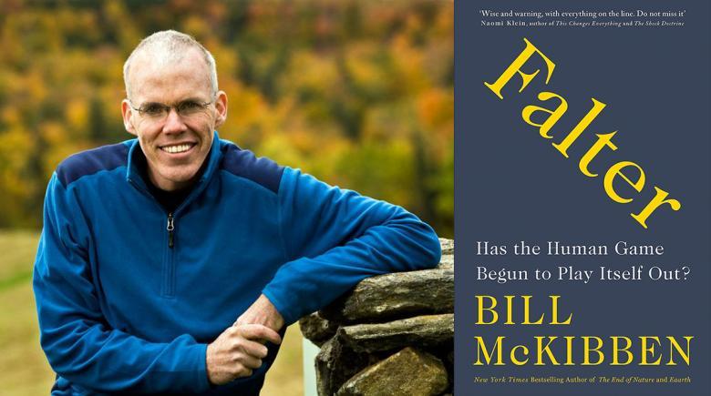 "Bill McKibben portrait and ""Falter"" book cover"