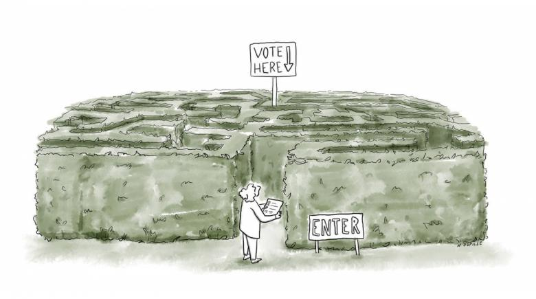 Illustration of a voting booth located in the center of a maze
