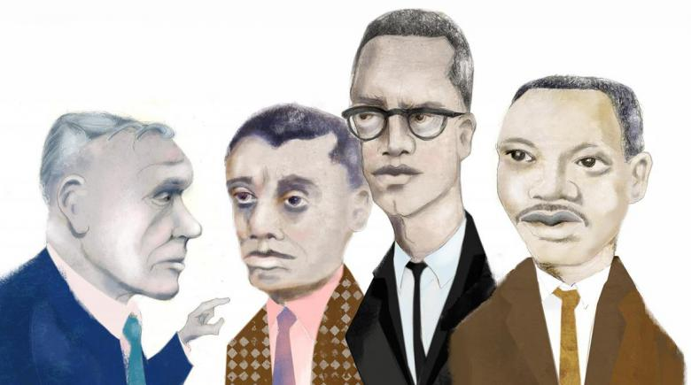 Illustration of Robert Penn Warren interviews with civil rights leaders in the 1960s