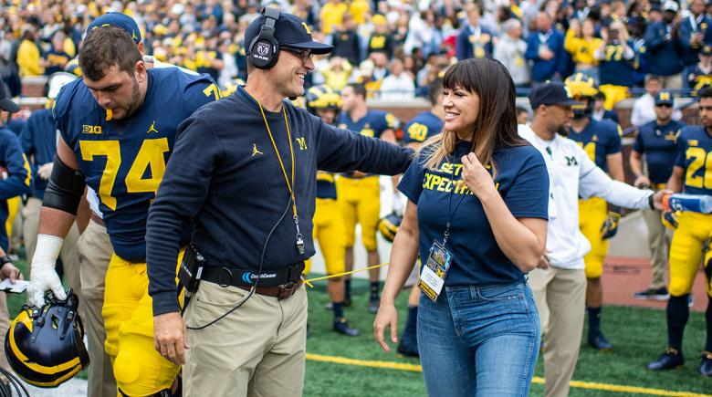 Brenda Tracy and Jim Harbaugh