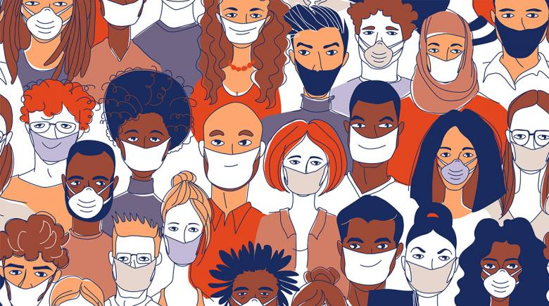 Illustration of a diverse group of people wearing face masks