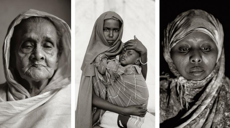 "Three portraits from Fazal Sheikh's ""Common Ground"" exhibit"