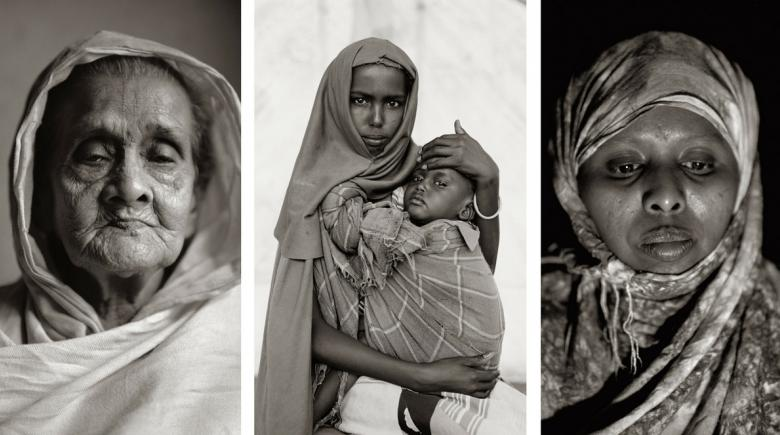 "Three portraits from Fazal Sheikh's ""Common Ground"" exhibit"