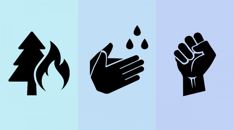 Icons of a wildfire, hand washing, and a fist indicating resistance
