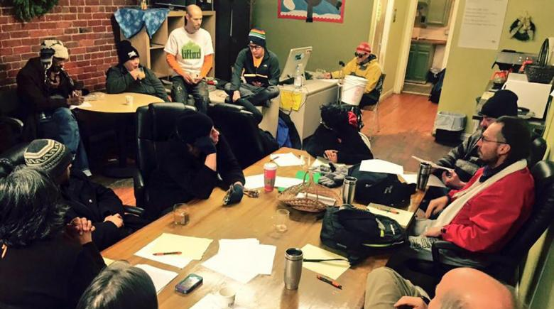Creative writing class at Street Roots