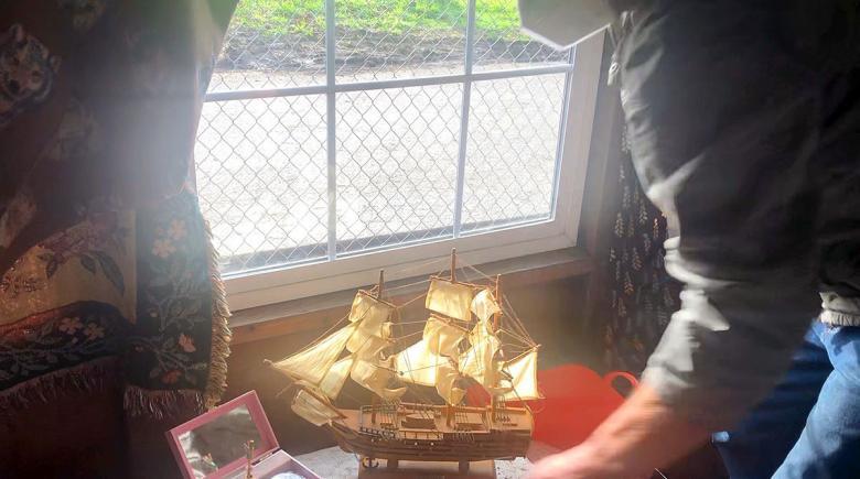 A miniature ship