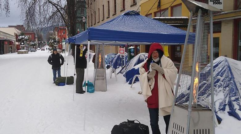 Tents and heaters outside the Street Roots office