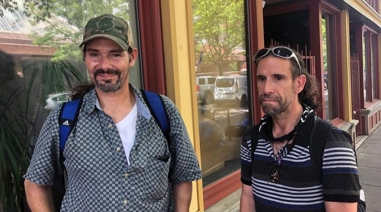 Chris and David outside the Street Roots office in Old Town