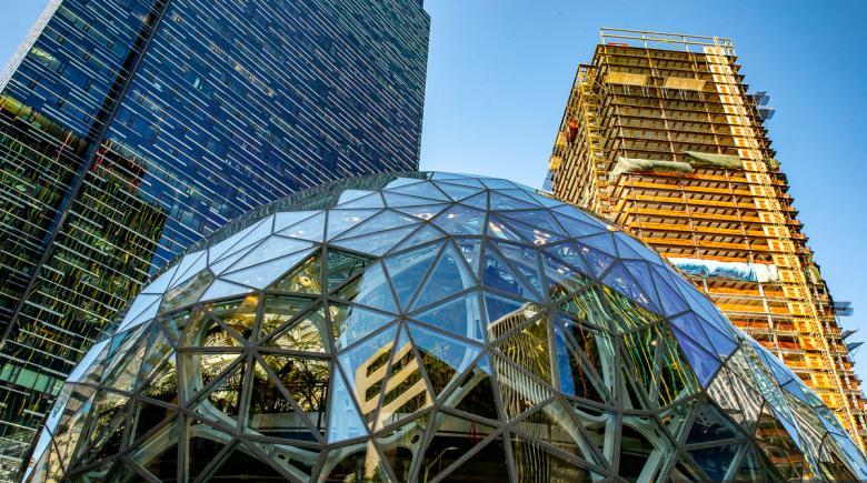 The exterior of Amazon headquarters in Seattle