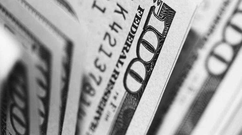 An array of hundred-dollar bills