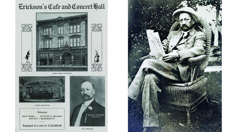 Erickson's saloon advertisement and portrait of August Erickson