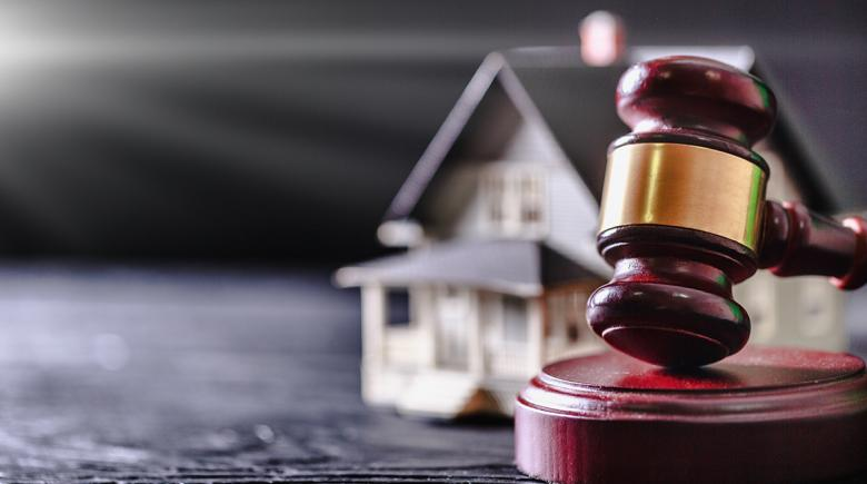 Photo showing gavel laid down in front of small model of house