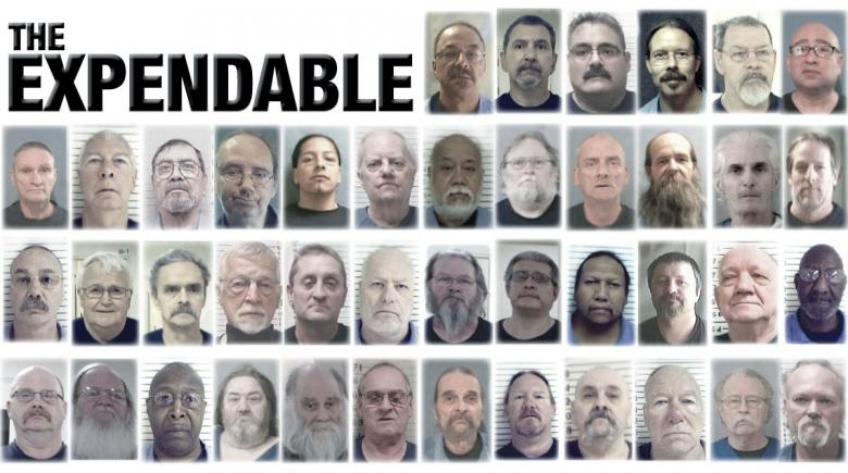 Photos of 42 Oregon state prisoners who died of COVID-19. Headline reads: The Expendable.