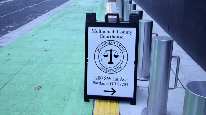 Multnomah County Courthouse sign