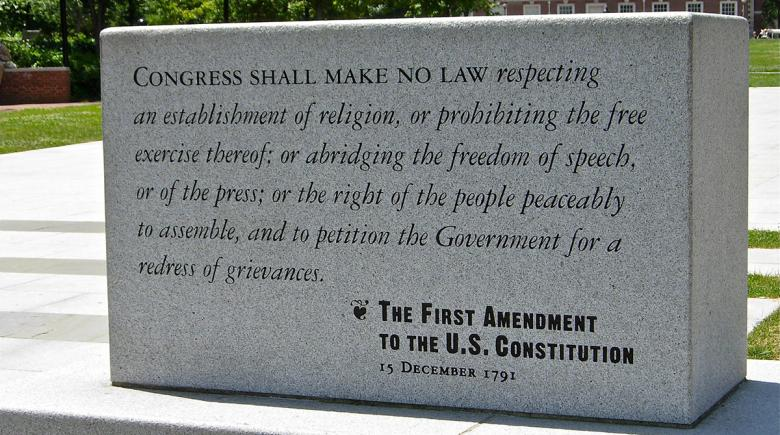 Plaque with the text of the First Amendment
