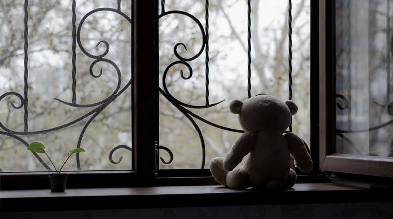 A teddy bear sits on a window sill