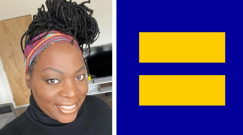 Two images side by side: Tori Cooper and the Human Rights Campaign logo