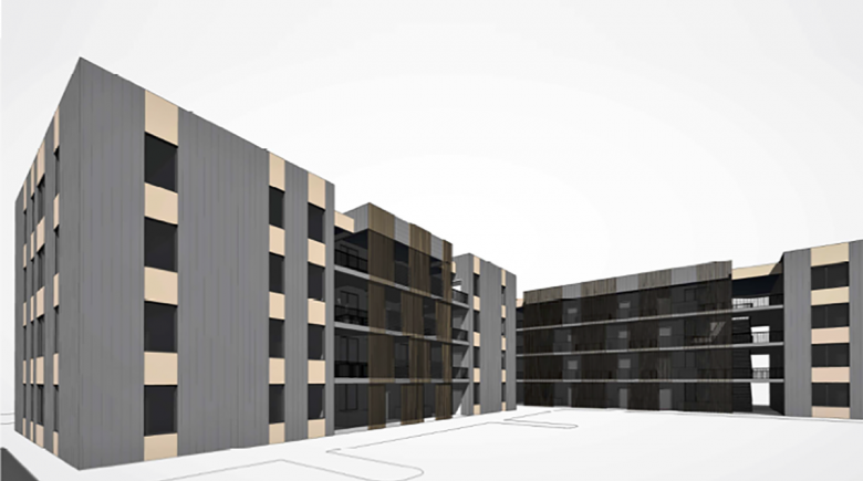 Illustration of the exterior of the proposed housing complex