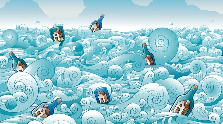 Illustration of the sea filled with bottles containing houses