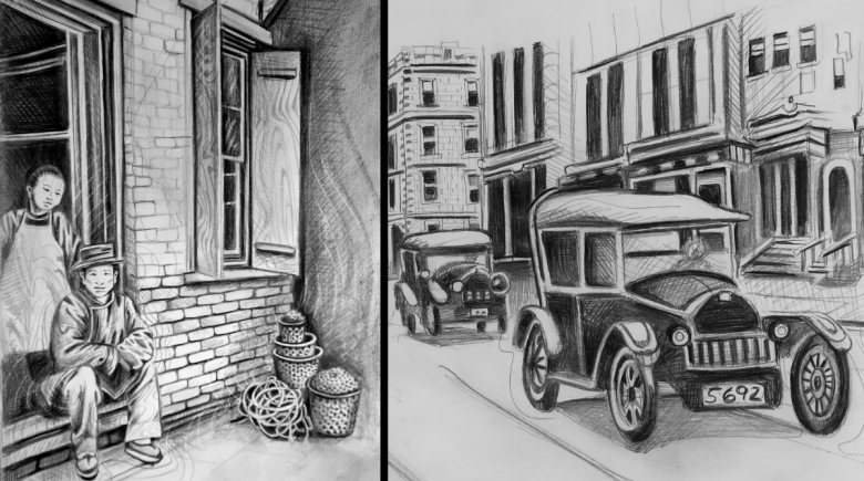 Old Town illustrations by Helen Hill