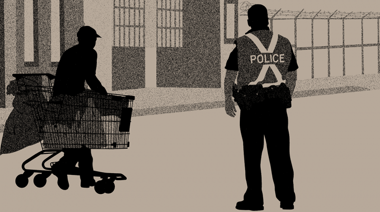 Illustration of a police officer standing next to an unhoused person