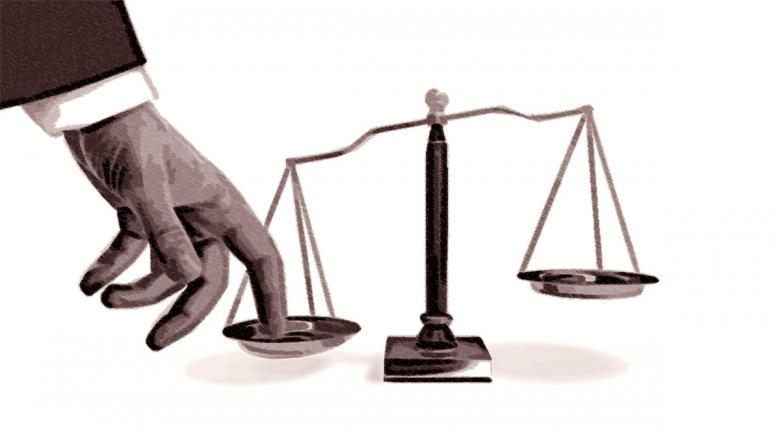 Illustration of a person pushing down on one side of the scales of justice