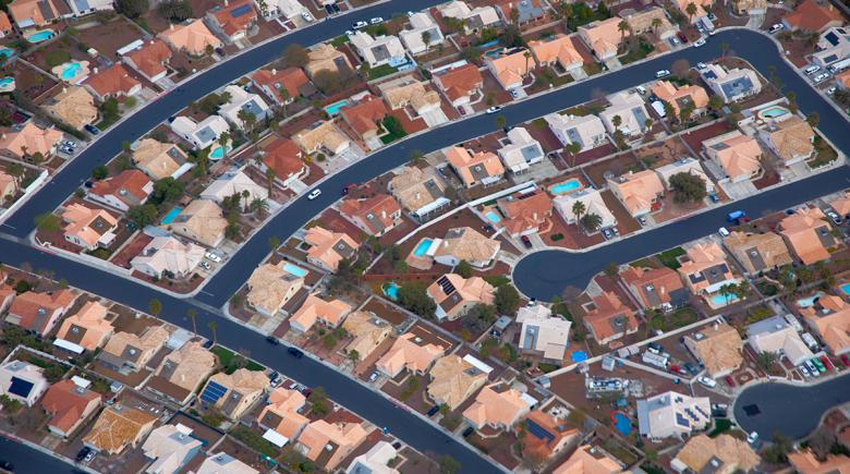 Overhead shot of Las Vegas suburbs