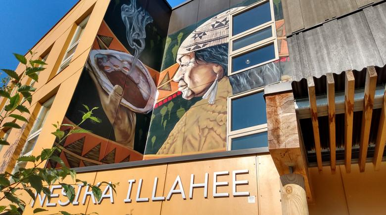 A mural is seen on the Nesika Illahee building