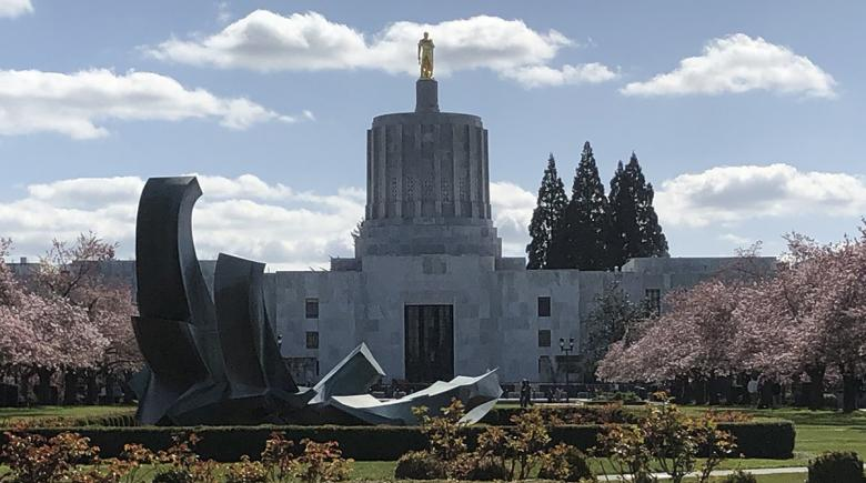 Oregon State Capitol in the spring
