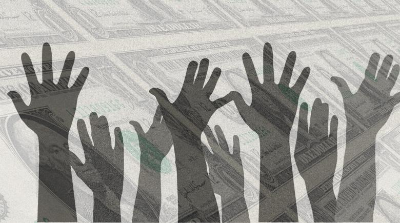 Illustration of hands raised and dollar bills