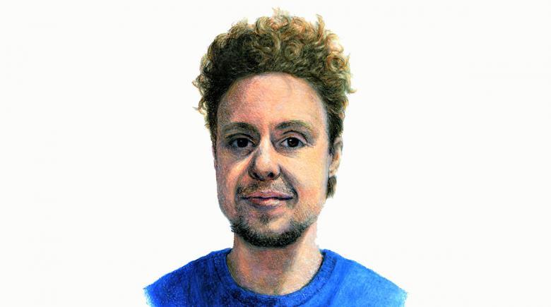 Self-portrait drawing of Phoenix Oaks