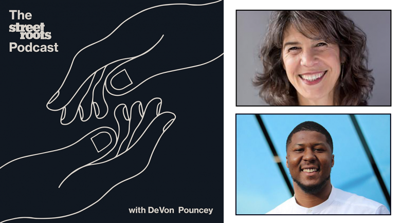 Street Roots Podcast logo with portraits of DeVon Pouncey and Sharon Meieran