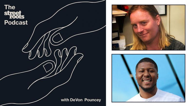 Street Roots Podcast logo with portraits of DeVon Pouncey and Tina Drake