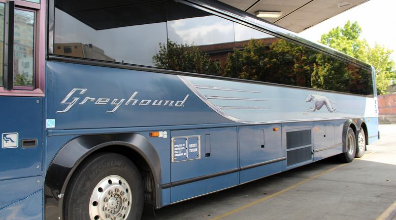 Greyhound bus in Portland