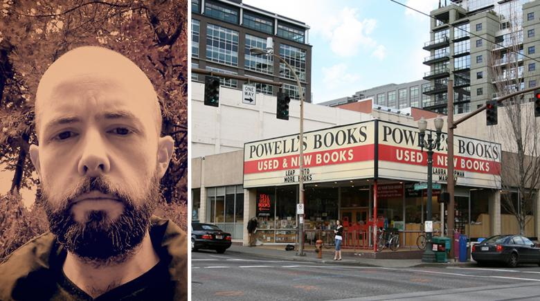 Keith Mosman on the left; Powell's Books on the right