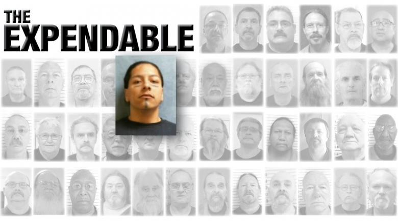 Portraits of 42 Oregon prisoners who died of COVID-19. The portrait of Bernardino Garcia is emphasized. The headline reads: The Expendable.