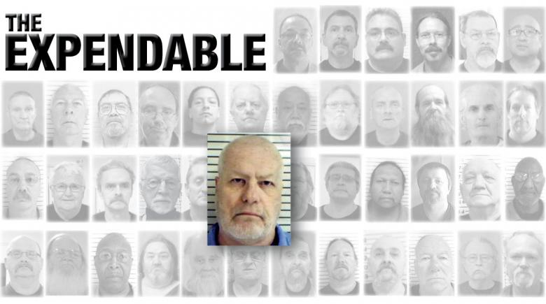 Portraits of 42 Oregon prisoners who died of COVID-19. The portrait of Brian McCarvill is emphasized. The headline reads: The Expendable.
